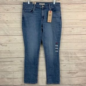 Levi's mid rise skinny blue denim jeans medium